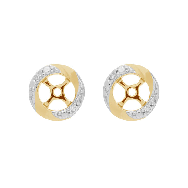 9ct White Gold Black Onyx Stud Earrings with Detachable Diamond Halo Ear Jacket in 9ct Yellow Gold