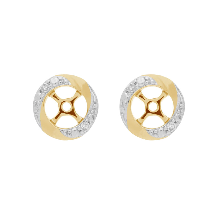 Classic Round Diamond Earring Jacket in Two Tone Yellow & Rhodium Plated 9ct Gold