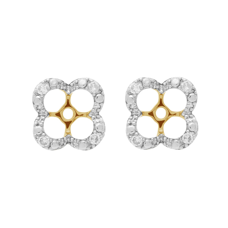 Classic Round Peridot Stud Earrings with Detachable Diamond Floral Ear Jacket in 9ct Yellow Gold