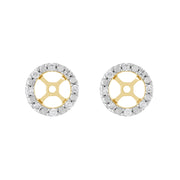 Classic Morganite Stud Earrings & Diamond Round Ear Jacket Image 3