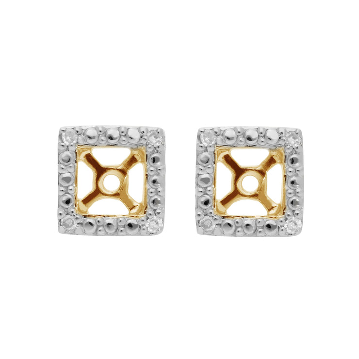 Classic Round Diamond Square Earring Jacket in 9ct Yellow Gold