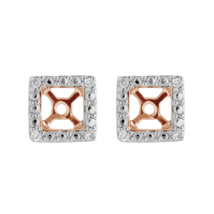 Classic Round Diamond Square Earring Jacket in 9ct Rose Gold