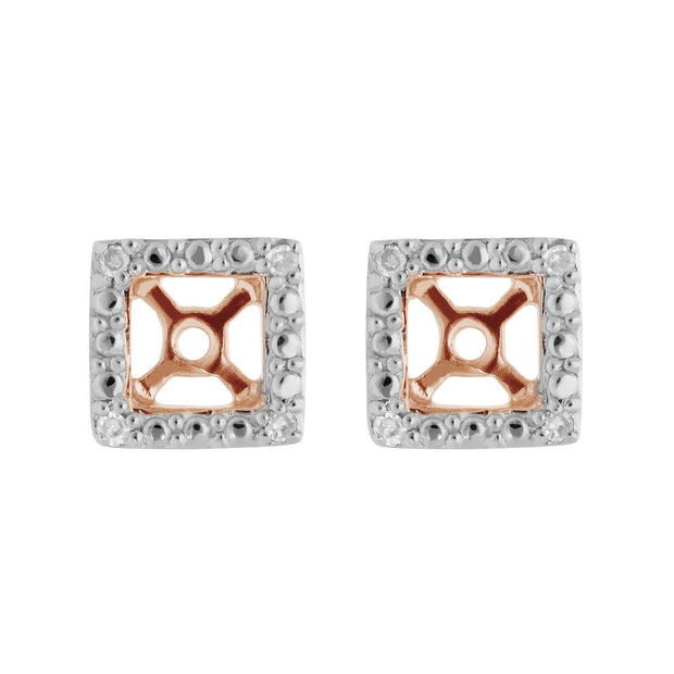 Classic Rose Quartz Stud Earrings & Diamond Square Ear Jacket Image 3