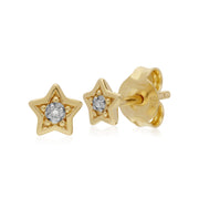 Classic Single Stone Round Diamond Star Stud Earrings in 9ct Yellow Gold