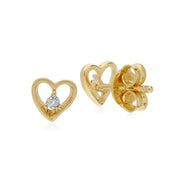 Gemondo 9ct Yellow Gold Diamond Single Stone Heart Stud Earrings