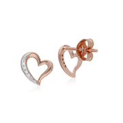 Classic Round Diamond Open Love Heart Stud Earrings in 9ct Rose Gold