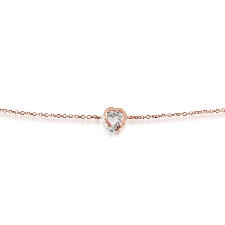 Classic Round Diamond Heart Bracelet in 9ct Rose Gold