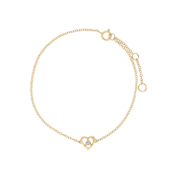 Gemondo 9ct Yellow Gold Diamond Round Single Stone Heart 19cm Bracelet