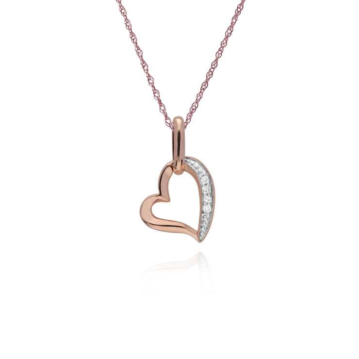 Classic Round Diamond Open Love Heart Pendant in 9ct Rose Gold