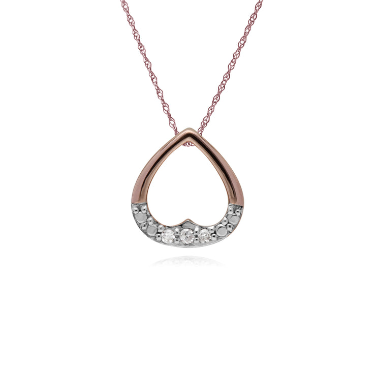Classic Round Diamond Open Heart Shaped Pendant in 9ct Rose Gold