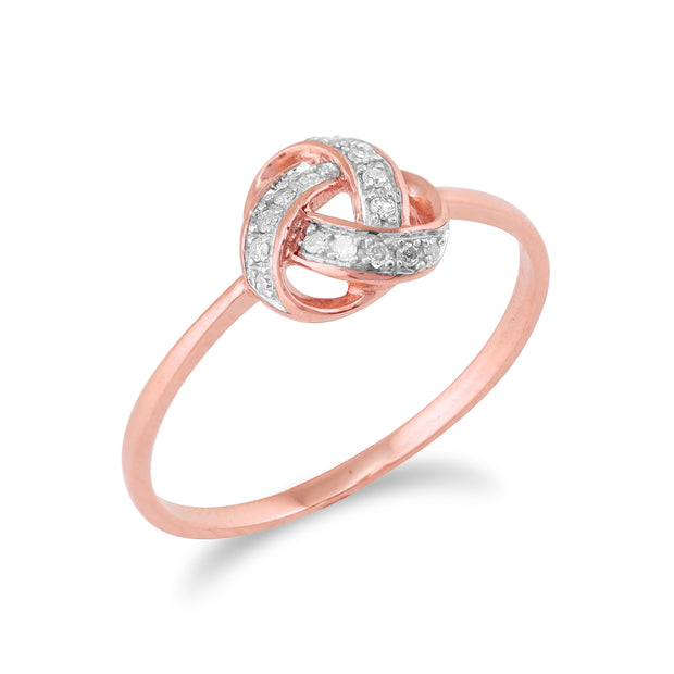 Classic Diamond Love Knot Ring in 9ct Rose Gold