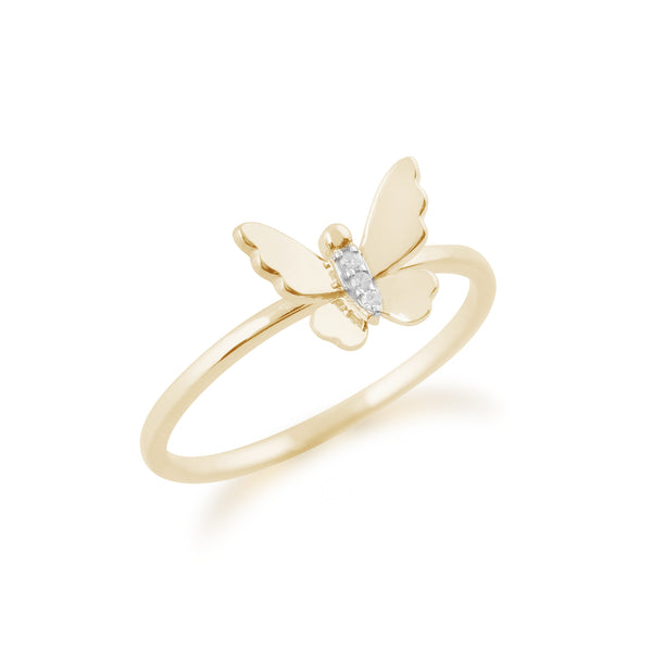 Gemondo 9ct Yellow Gold 0.01ct Diamond Butterfly Ring Image 2
