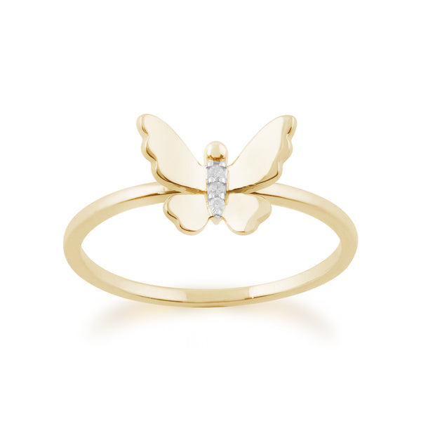 Gemondo 9ct Yellow Gold 0.01ct Diamond Butterfly Ring Image 1