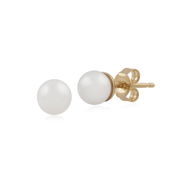 Classic Full Round Freshwater Pearl Stud Earrings in 9ct Yellow Gold 5mm