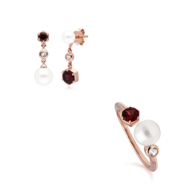 Modern Pearl, Garnet & Topaz Earring & Ring Set in Rose Gold Plated Sterling Silver