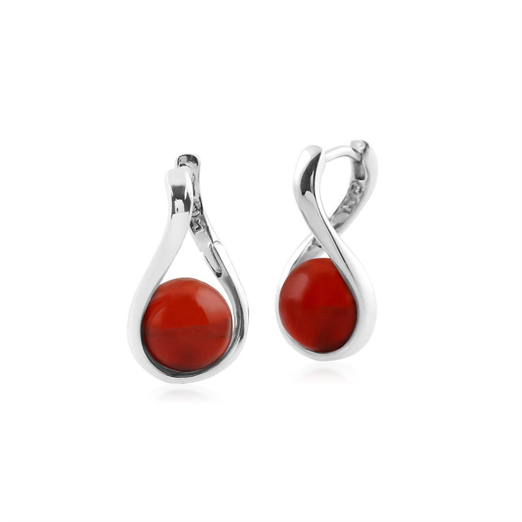 Kosmos Dyed Red Carnelian Orb Earrings in Rhodium Plated Sterling Silver