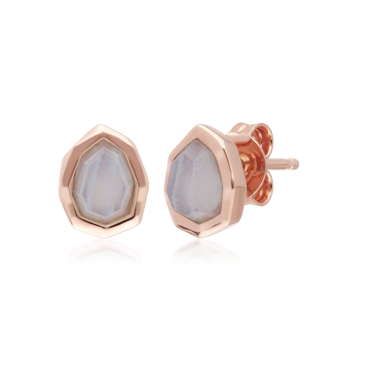 Irregular B Gem Blue Lace Agate Stud Earrings in Rose Gold Sterling Silver