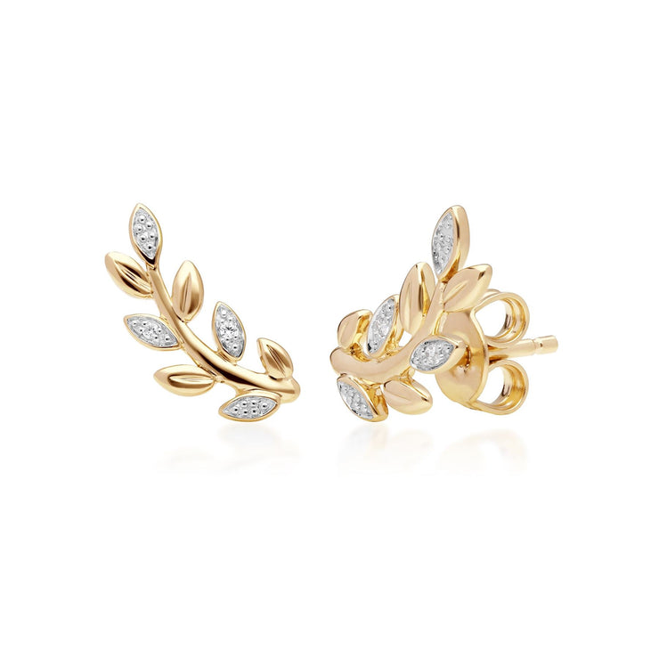 9ct Yellow Gold Olive Branch Leaf Diamond Pave Stud Earrings