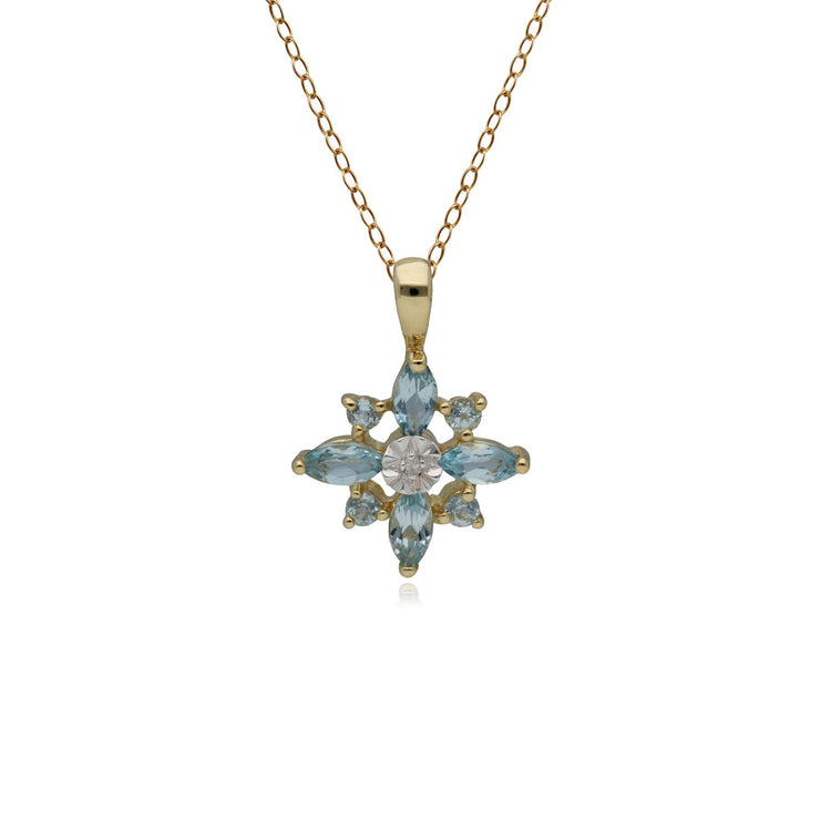 Classic Blue Topaz & Diamond Starburst Pendant in 9ct Yellow Gold