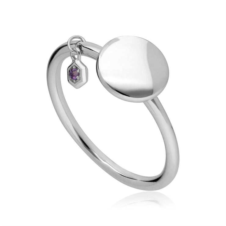 Amethyst Engravable Ring in Sterling Silver