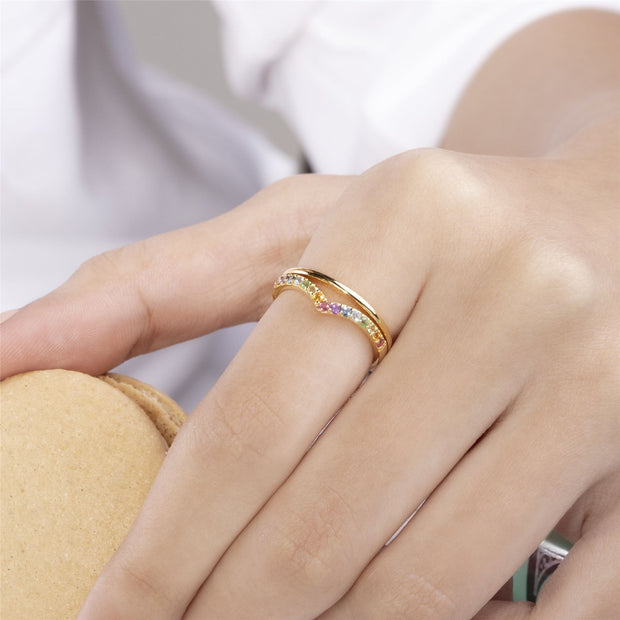 Rainbow Wishbone Style Ring in Gold Plated Sterling Silver on model