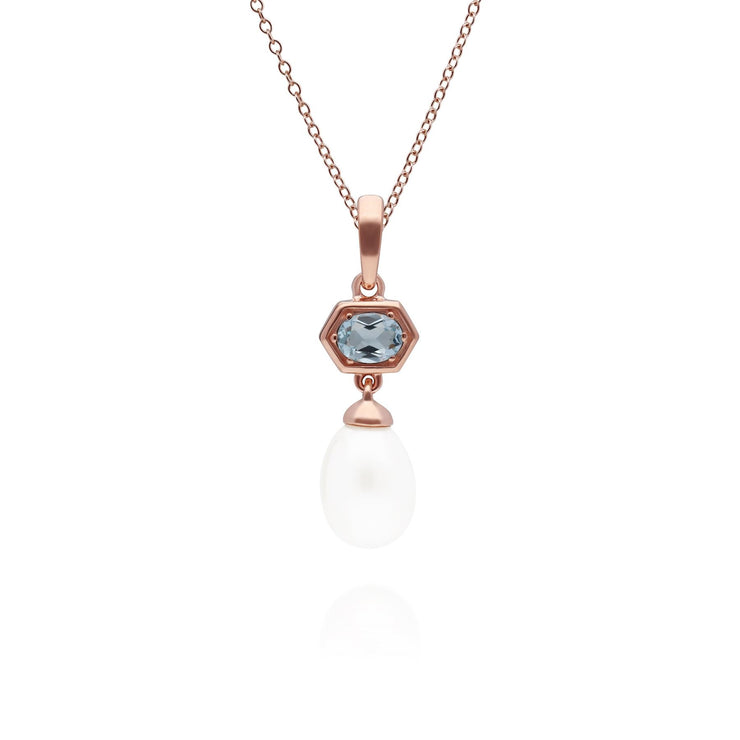 Modern Pearl & Blue Topaz Hexagon Drop Pendant in Rose Gold Plated Sterling Silver