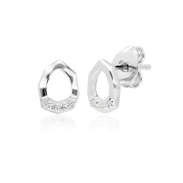 Diamond Pave Asymmetrical Earrings in 9ct White Gold