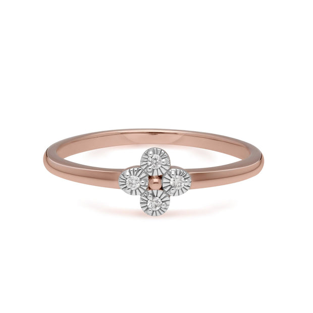 Diamond Flowers Ring in 9ct Rose Gold
