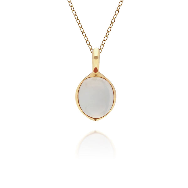 Irregular B Gem Moonstone Pendant in Gold Plated Sterling Silver