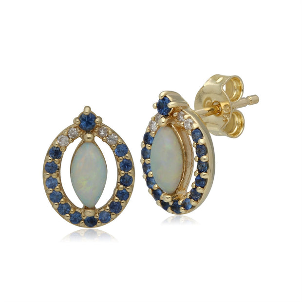Classic Opal, Sapphire & Diamond Stud Earrings in 9ct Yellow Gold