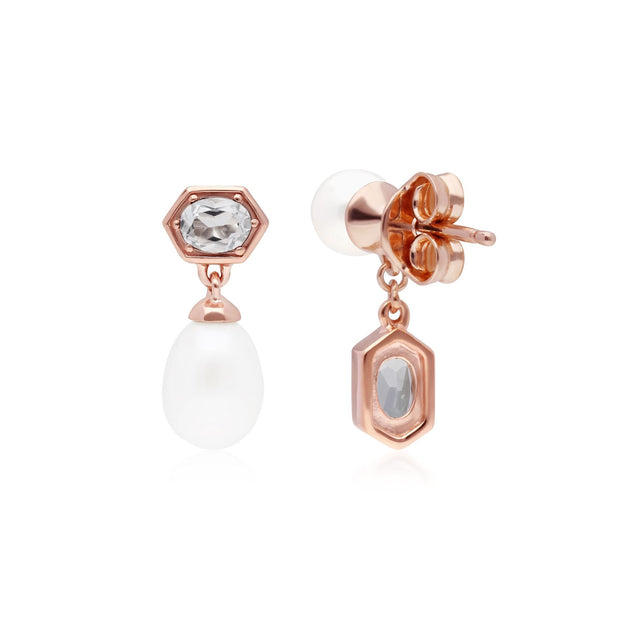 Modern Pearl & White Topaz Mismatched Drop Earrings in Rose Gold Plated Sterling Silver