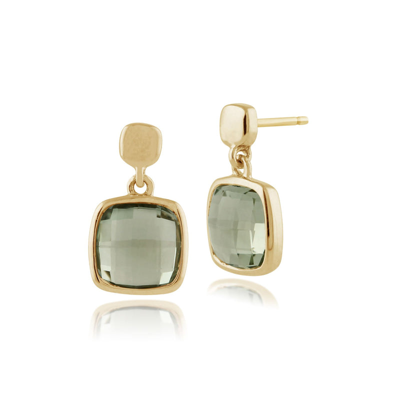 Square Mint Green Cherboard Quartz 9ct Yellow Gold Drop Earrings