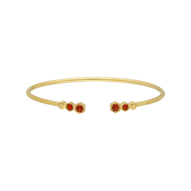 Geometric Fire Opal Open Bangle in Gold Plated 925 Sterling Silver