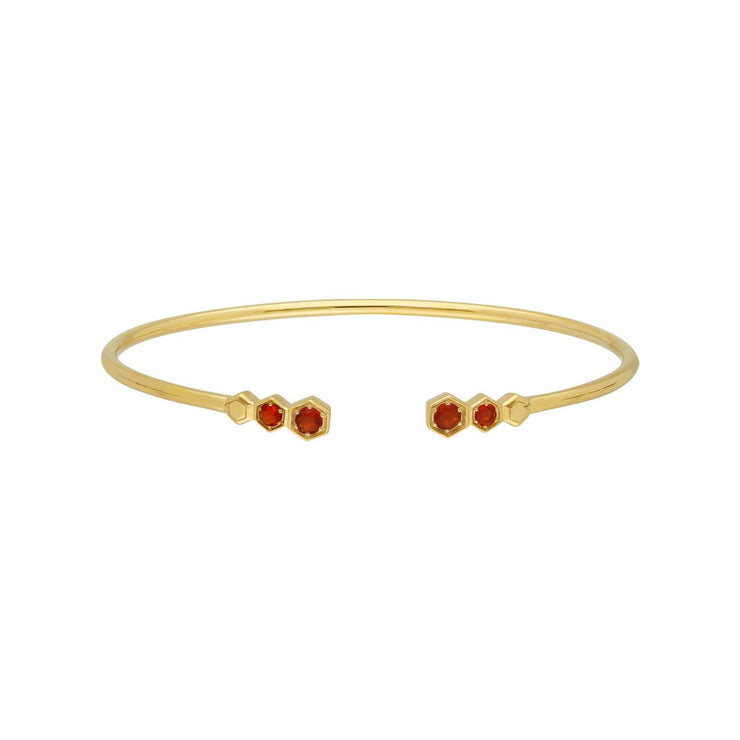Geometric Fire Opal Open Bangle in Gold Plated Sterling Silver