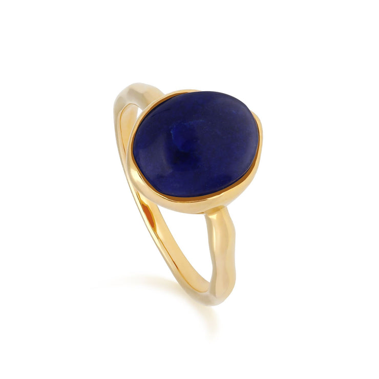 Irregular B Gem Lapis Lazuli Ring in Yellow Gold Plated Sterling Silver