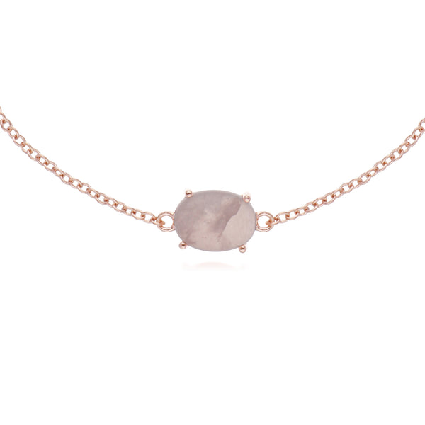 Classic Oval Rose Quartz Single Stone Bracelet in Rose Gold Plated 925 Sterling Silver