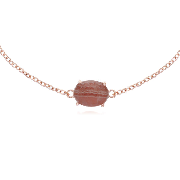 Classic Oval Rhodochrosite Single Stone Bracelet in Rose Gold Plated 925 Sterling Silver