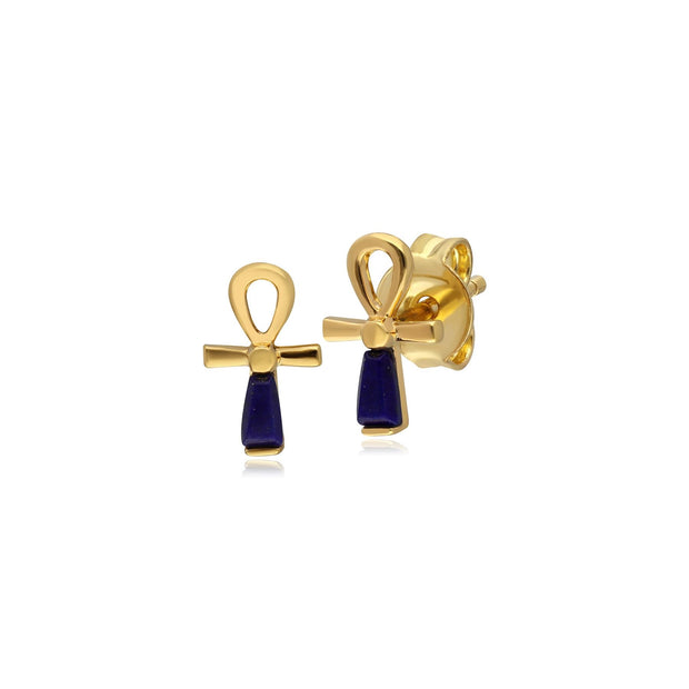 ECFEW™ Lapis Lazuli Ankh Stud Earrings