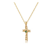 Classic Heart Emerald Claddagh Cross Pendant in 9ct Yellow Gold
