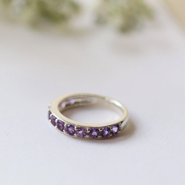 Classic Round Amethyst Half Eternity Ring in 925 Sterling Silver 1