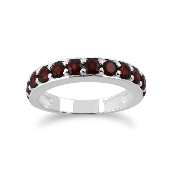 Classic Round Garnet Half Eternity Ring in 925 Sterling Silver