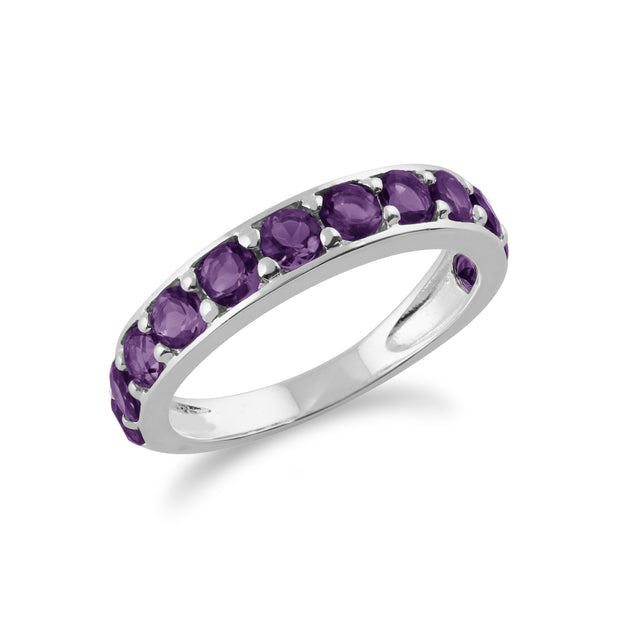 Classic Round Amethyst Half Eternity Ring in 925 Sterling Silver