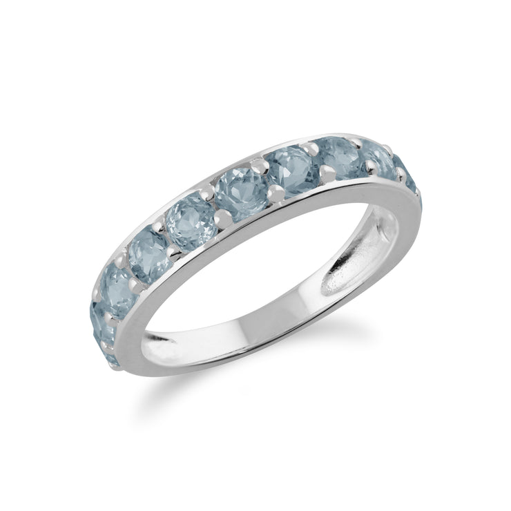Classic Round Blue Topaz Half Eternity Ring in 925 Sterling Silver