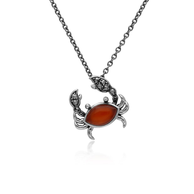 Red Dyed Carnelian &  Marcasite Crab In 925 Sterling Silver