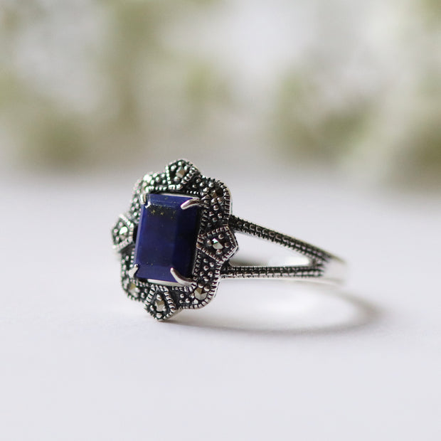 Art Deco Style Baguette Lapis Lazuli & Marcasite Ring in 925 Sterling Silver