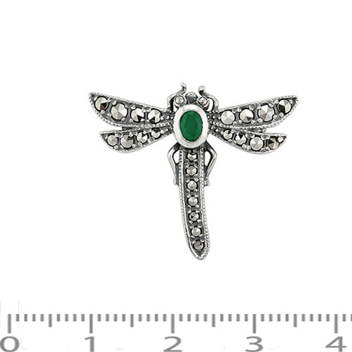 Art Nouveau Style Oval Marcasite & Emerald Dragonfly Brooch in 925 Sterling Silver