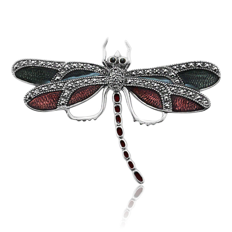 Art Nouveau Style Round Marcasite & Enamel Dragonfly Brooch in 925 Sterling Silver