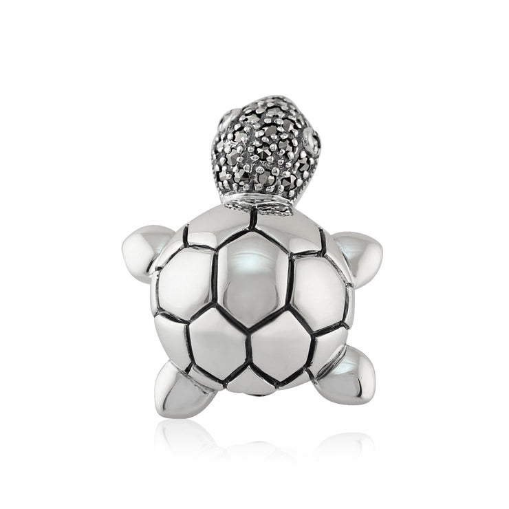 Classic Round Marcasite Cute Turtle Brooch in 925 Sterling Silver