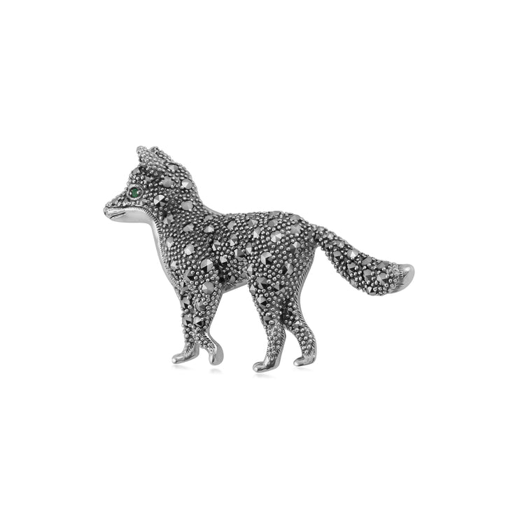 Classic Marcasite & Emerald Fox Brooch in 925 Sterling Silver