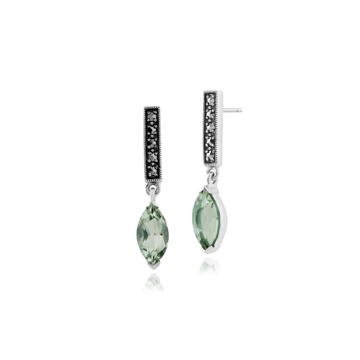 Art Deco Style Marquise Mint Green Quartz & Marcasite Bar Drop Earrings in 925 Sterling Silver